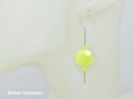 Lemon Yellow Olive Jade Faceted Coins, Rounds & Sterling Silver Tubes Drop Earrings | Silver Sensations